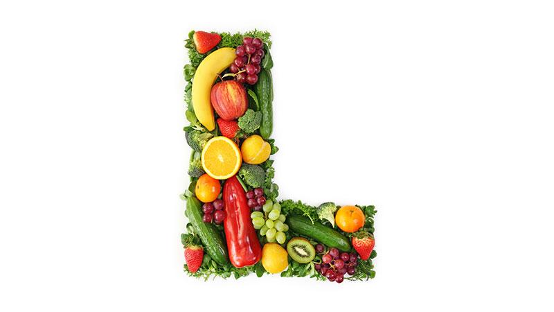 Buchstabe L aus Gemüse